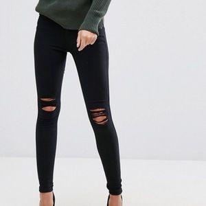 Dr Denim Lexy Super Skinny Ripped Knee Black Jeans